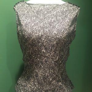 Michael Kors Black & White Sleeveless Pattern Top